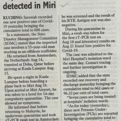 1. Imported Covid 19 Case Detected In Miri The Sunday Post. Pg3