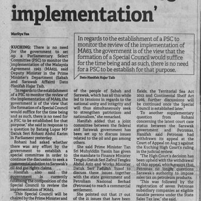 2. No Need For Govt To Form Psc On Ma63 Implementation. Borneo Post. Pg4