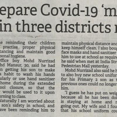 4. Parents Prepare Covid 19 Must Haves As Schools In Three Districts Reopen. Borneo Post. Pg1