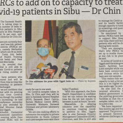 20.1.2021 The Borneo Post Pg.1 Pkrcs To Add On To Capacity To Treat Covid 19 Patients In Sibu Dr Chin The Borneo Post