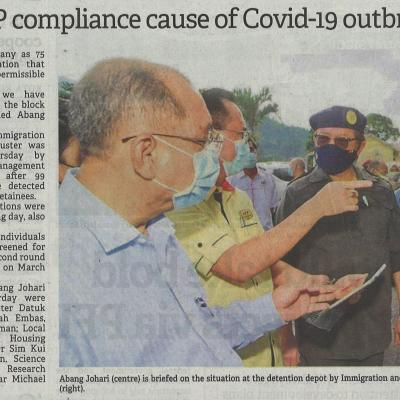 23.3.2021 The Borneo Post Pg.1 Cm Weakness In Sop Compliance Cause Of Covid 19 Outbreak At Semuja Depot